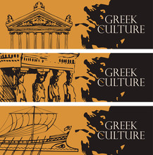 Set Of Three Vector Travel Banners On The Theme Of Ancient Greece With Pencil Drawings Of Greek Attractions In Black And Orange Colors. Greek Culture.