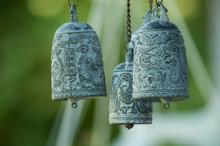 Closeup Of Asian Bell In Japanes Garden