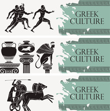 Set Of Three Vector Travel Banners On The Theme Of Greek Culture In Retro Style. Illustrations With Greek Sports, Ancient Amphorae And Mythical Sphinx. Ancient Greece.
