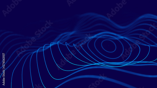 Wave 3d. 3D blue glowing abstract background. Abstract background with a dynamic wave. Big data visualization. 3d rendering.