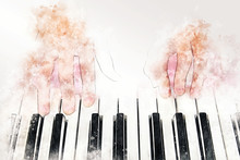 Abstract Colorful Shape On Playing Piano Keyboard Watercolor Illustration Painting Background.