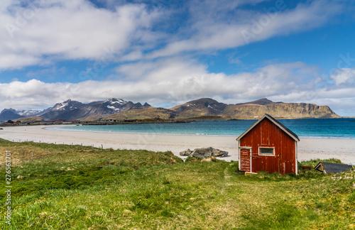 Foto op Aluminium Arctica Ramberg Beach, Lofoten Islands, Norway with golden sand and azure sea