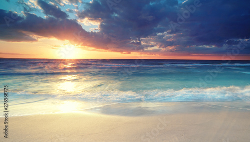 Canvas Prints North Sea Sonnenuntergang am Strand
