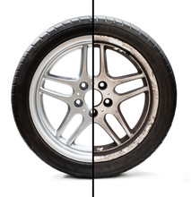 Image Of Old Refurbished Tyre Showing Before And After Conditions Concept Of Restoration Or Improvement