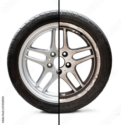 Fotomural  Image of old refurbished tyre showing before and after conditions concept of res
