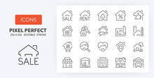 Real Estate 1 Line Icons 256 X 256