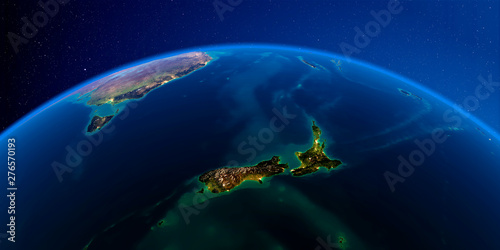 Canvas Print Detailed Earth at night. New Zealand