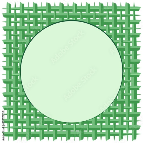 Foto op Aluminium Draw Weaved Coconut Leaf with Round Frame Green Vector Background