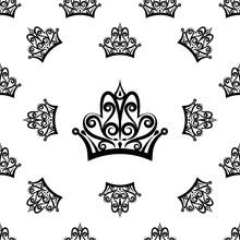 Crown Icon Seamless Pattern, Crown