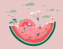 Sea View Consisting Of A Large Piece Of Watermelon And Small People Swimming And Diving To The Bottom. Men And Women On Summer Vacation. Vector Illustration.