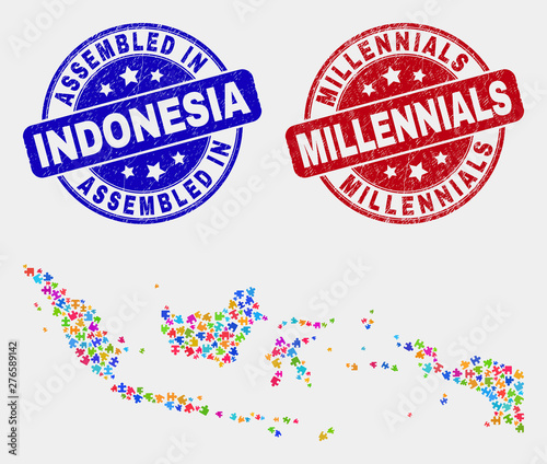 Module Indonesia map and blue Assembled seal, and Millennials grunge seal stamp Canvas Print