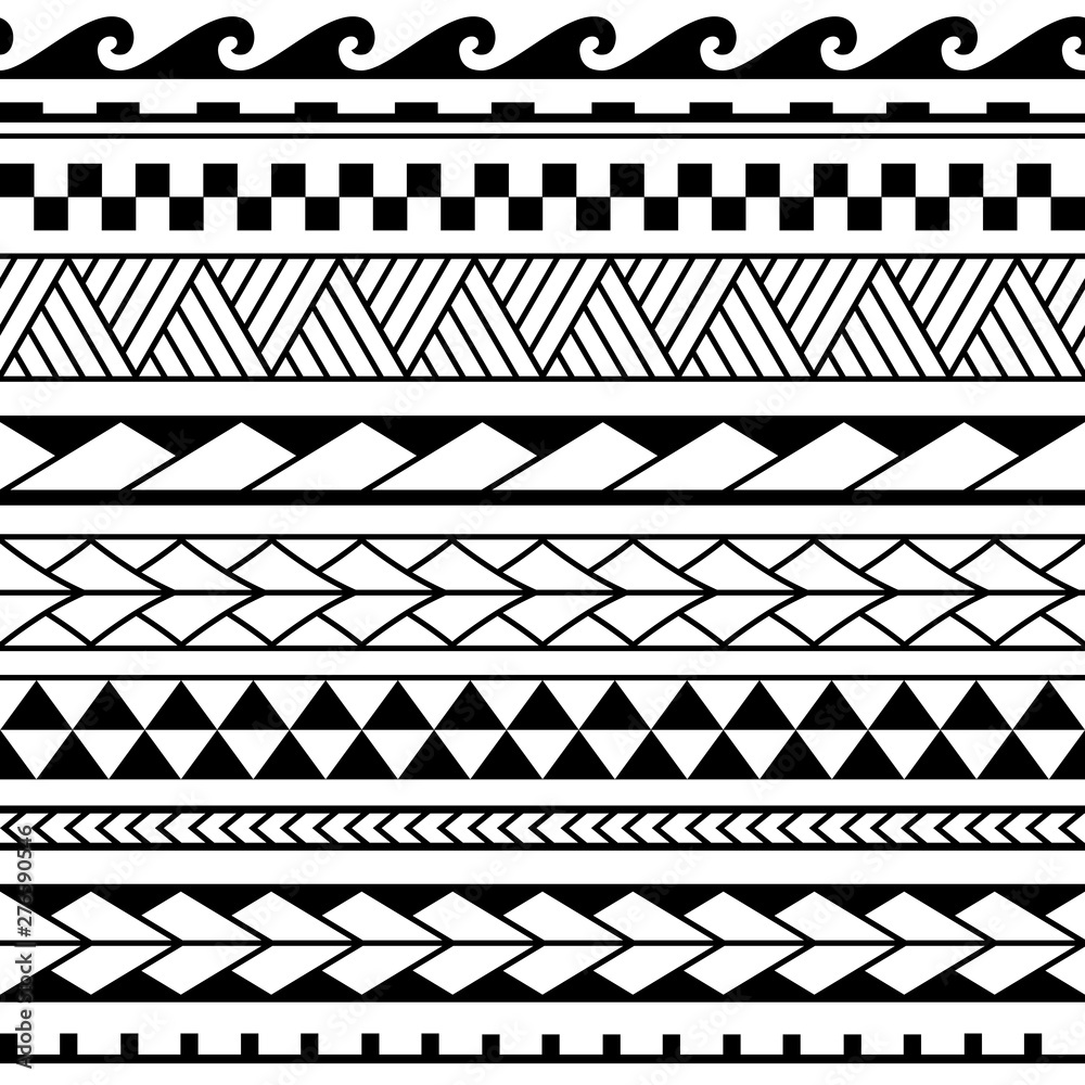 Vector ethnic seamless pattern in maori tattoo style. Geometric border with decorative ethnic elements. Horizontal pattern. Design for home decor, wrapping paper, fabric, carpet, textile, cover