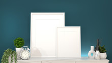 Mock Up Frame On Granite Cabinets In A Dark Green Room And Decoration.3D Rendering