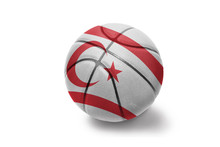Basketball Ball With The National Flag Of Northern Cyprus On The White Background