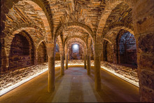 Crypt In The Church Of The Medieval Castle Of Cardona. The Most Important Medieval Fortress In Catalonia And One Of The Most Important In Spain