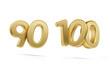 Leinwanddruck Bild - ninety one hundred bold golden number 3d-illustration
