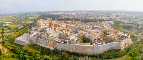 Poster Con. Antique Panorama of the town of Mdina fortress aerial top view in Malta.