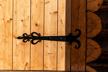 Vintage,metal Hinges On The Wooden Door.