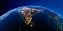 Detailed Earth At Night. India...