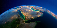 Detailed Earth At Night. Saudi...