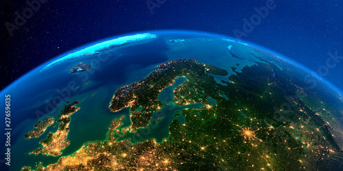 Cuadros en Lienzo Detailed Earth at night. Europe. Scandinavia