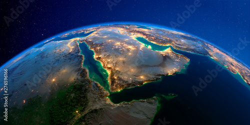 Photo Detailed Earth at night. Saudi Arabia