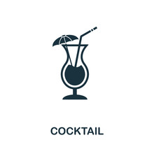 Cocktail Vector Icon Symbol. Creative Sign From Icons Collection. Filled Flat Cocktail Icon For Computer And Mobile