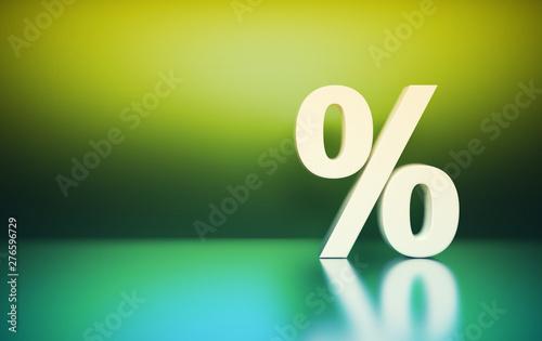 Photo  Large white percent percentage sign symbol on green background