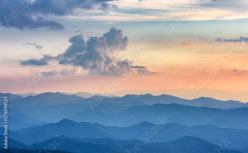 Dramatic Sunset along Blue Ridge Parkway with View of Smoky Mountains Wallpaper Mural