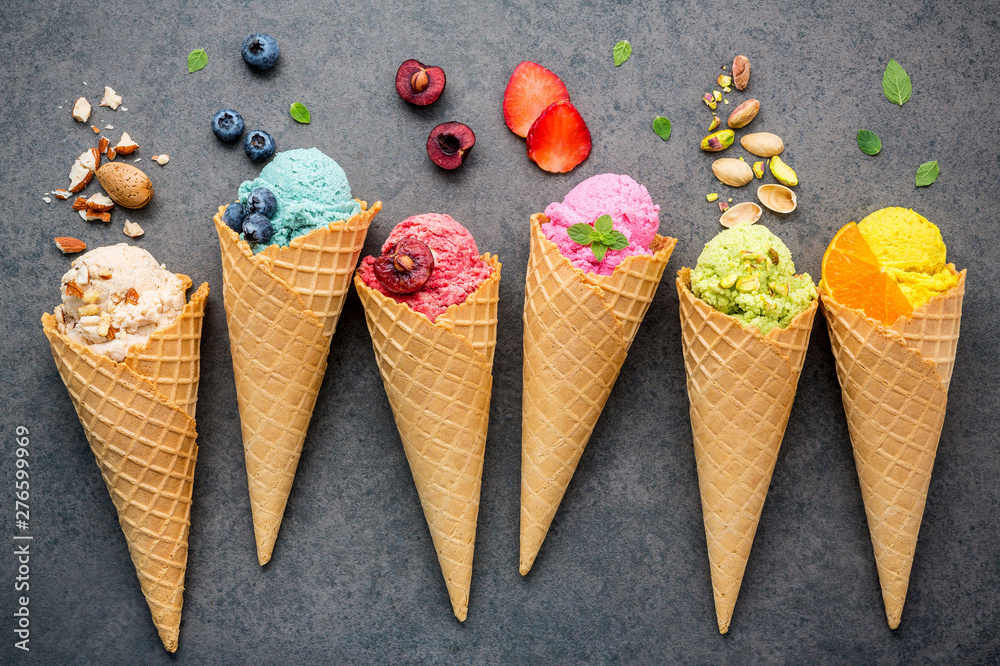 Fototapety, obrazy: Directly Above Shot Of Ice Creams And Fruits