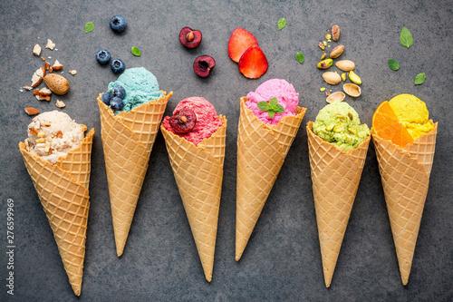 Valokuva  Directly Above Shot Of Ice Creams And Fruits