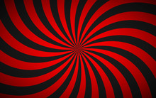 Decorative Retro Red Spiral Background, Swirling Radial Pattern, Simple Abstract Vector Illustration