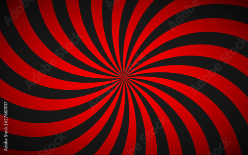 Obraz Decorative retro red spiral background, swirling radial pattern, simple abstract vector illustration - fototapety do salonu