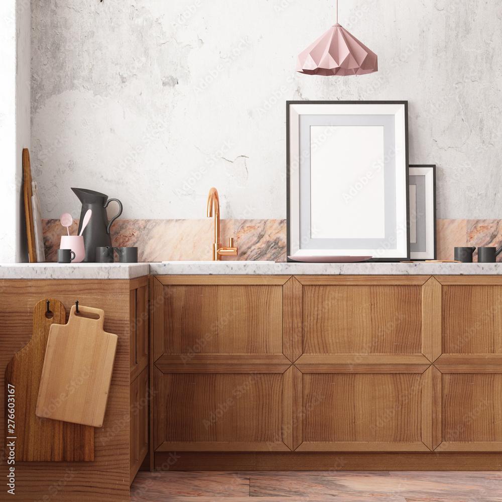 Fototapety, obrazy: mockup kitchen interior in loft style. 3d render  3d visualization