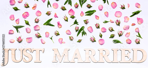 Banner Floral Wedding Pattern On A White Background Petals