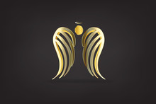 Gold Angel Wings Logo Vector