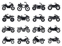 Race Quad Bike Icons Set. Simp...