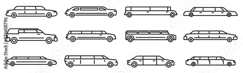 Photographie Wedding limousine icons set