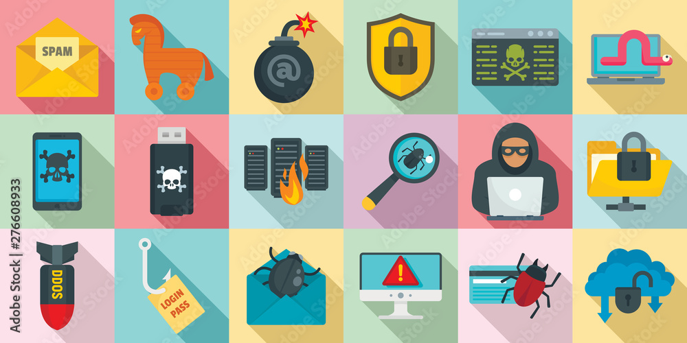 Fototapeta Cyber attack icons set. Flat set of cyber attack vector icons for web design