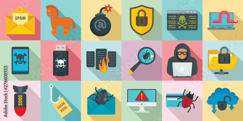 Cyber attack icons set Fotobehang