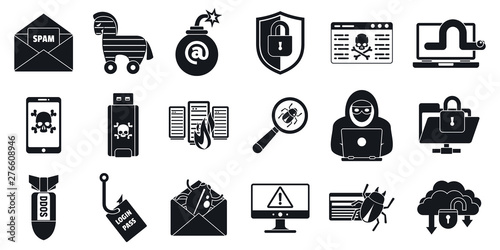 Photo Cyber attack virus icons set