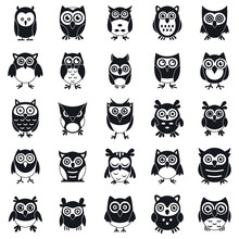 Fun Owl Icons Set. Simple Set ...