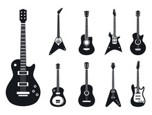 Electric Guitar Icons Set. Simple Set Of Electric Guitar Vector Icons For Web Design On White Background