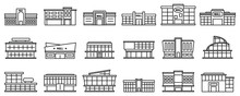 Mall Centre Icons Set. Outline...