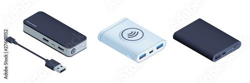 Fotografie, Obraz Power bank icons set