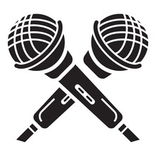Crossed Microphone Icon. Simpl...