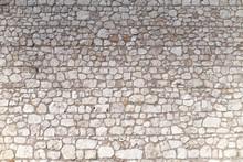 Wall Made Of White Limestone.