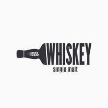 Whiskey Bottle Logo. Lettering Sign Of Whisky