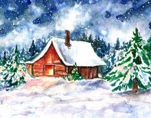 Watercolor Winter Night Illust...