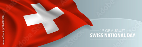 Fototapeta Swiss happy national day vector banner, greeting card